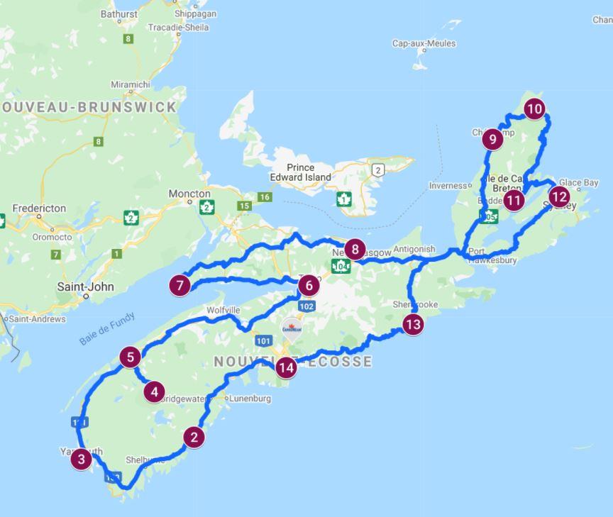 Itinéraire Nouvelle Écosse